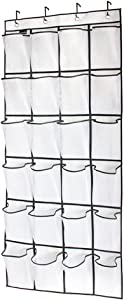 Tebery 24 Large Mesh Pockets Hanging Over The Door Shoe Organizer with 4 Steel Over The Door Hooks (White)