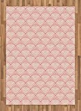 Light Pink Area Rug by Lunarable, Dragon Fish Scales Japanese Style Ocean Waves Circle Pattern Tile, Flat Woven Accent Rug for Living Room Bedroom Dining Room, 5.2 x 7.5 FT, Pale Pink Pale Orange