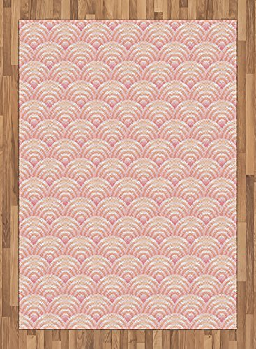 Light Pink Area Rug by Lunarable, Dragon Fish Scales Japanese Style Ocean Waves Circle Pattern Tile, Flat Woven Accent Rug for Living Room Bedroom Dining Room, 5.2 x 7.5 FT, Pale Pink Pale Orange by Lunarable