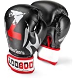 Flexzion Training Boxing Gloves Grappling UFC Sparring Fight Punch Ultimate Sandbag Heavy Bag Mitts Sports Fitness Exercise Equipment in Black Red for Adult Men Women