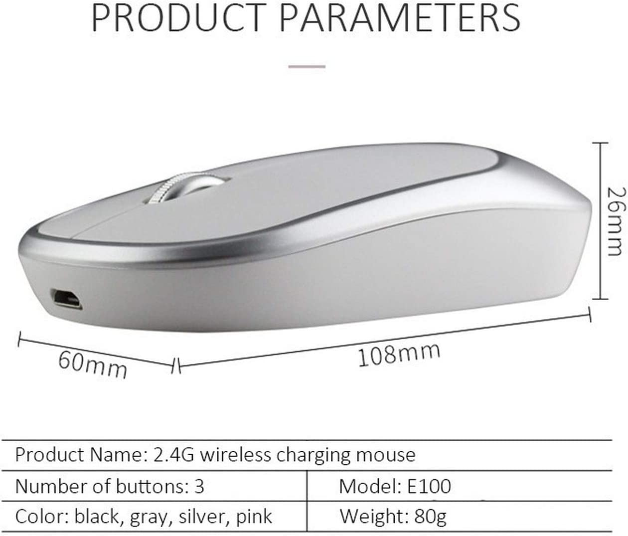 Wireless Rechargeable Mouse Mini Silent Button Ultrathin USB 1600DPI Optical Mute Computer Mice for Laptop Gaming Mouse,Silver