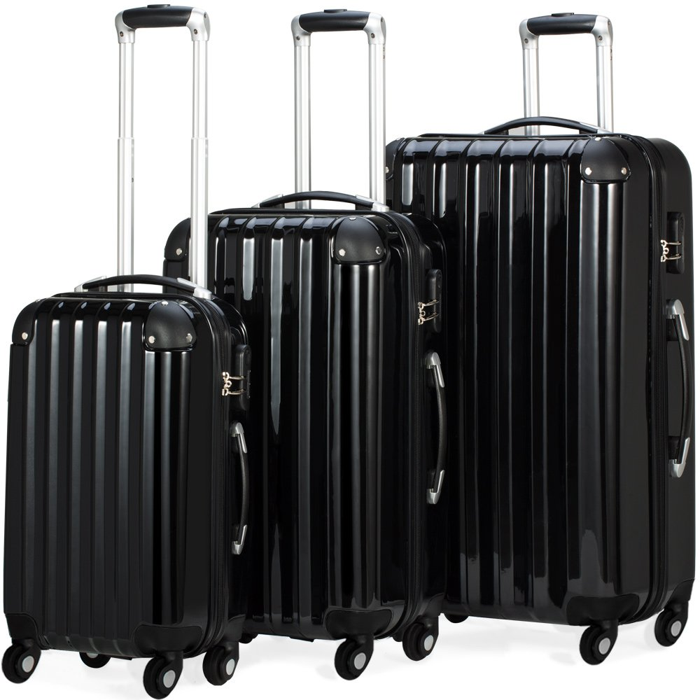 3 Piece Extra Strong ABS Luggage Set Hard-shell Suitcase Trolley 4 Wheel Spinner Travel Light-Weight 3 Sizes Black Silver Monzana