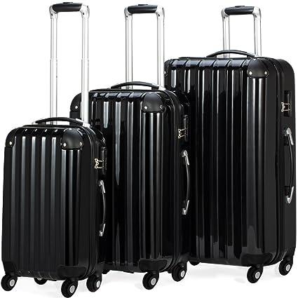 Monzana Set de Maletas Maletas Rígidas con Ruedas de ABS Robusto con Revestimiento de Policarbonato Juego de Maletas Color negro