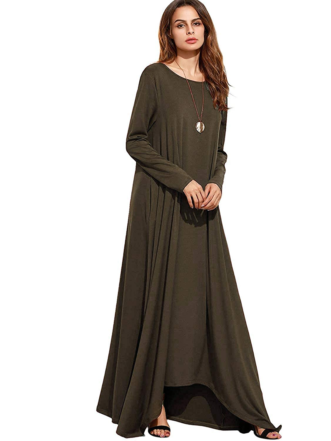 3577169b2 NASKY Dress Women s Ladies Maxi Dress with Long Sleeves T-Shirt Long Dress  with Pockets Casual Autumn Mother s Day  Amazon.co.uk  Clothing