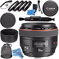 Canon EF 50mm f/1.2L USM Lens 1257B002 + 77mm Macro Close Up Kit + Lens Cleaning Kit + Lens Pen Cleaner + Fibercloth Bundle