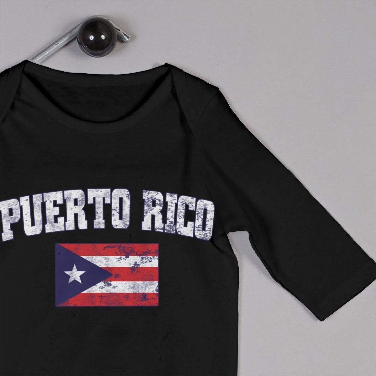 Puerto Rico Faded Distressed Flag Printed Newborn Baby Boy Girl Jumpsuit Long Sleeve Pajamas Black