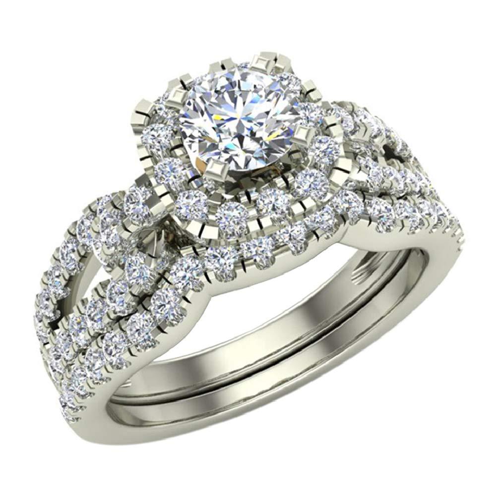 Diamond Loop Shank Cushion Shape Wedding Ring Set 1.05 Carat Total Weight 14K White Gold (Ring Size 5.5) by Glitz Design (Image #1)