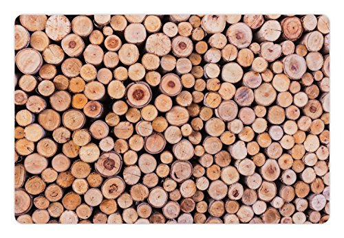 Ambesonne Rustic Pet Mat for Food and Water, Mass of Wood Logs Forest Tree Ecology Industry Group of Cut Lumber Circle Stack Image, Rectangle Non-Slip Rubber Mat for Dogs and ()
