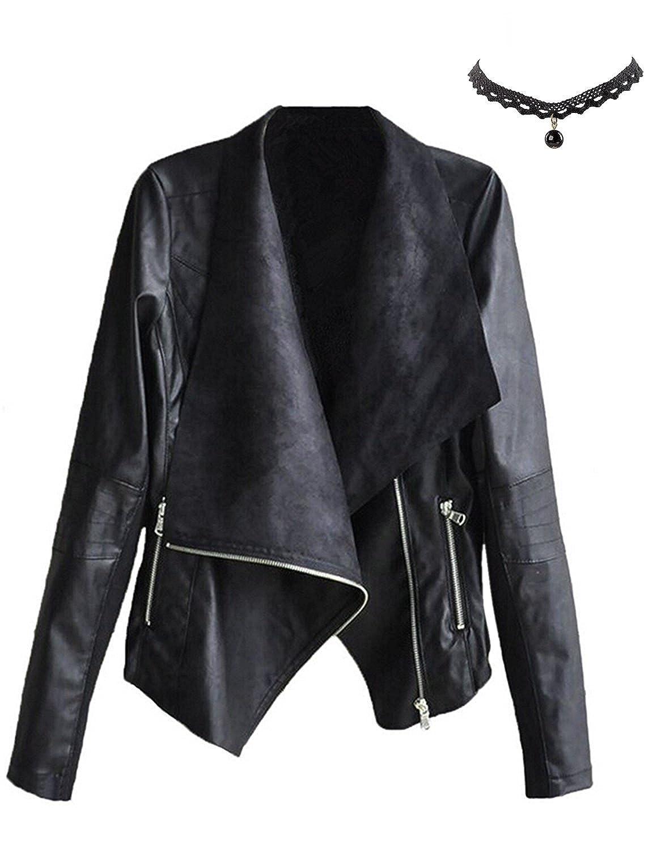 M-Queen Mujer Chaqueta de Pu Cuero Cortos Primavera Abrigo de Cuello De Solapa con Cremallera Elegante Outwear Tops Jacket