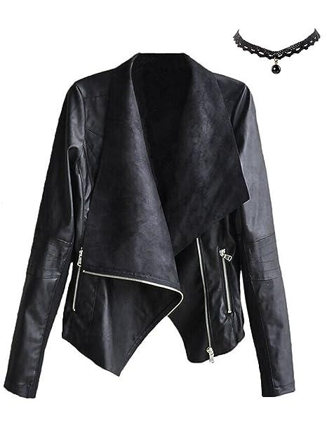 M-Queen Mujer Chaqueta de PU Cuero Cortos Abrigo de Cuello De Solapa con Cremallera Elegante Outwear Invierno Tops Jacket Negro S: Amazon.es: Ropa y ...