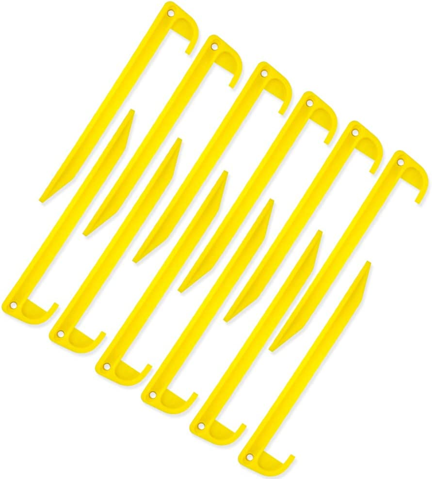 5.7inch AHIROT Camping Tent Stake Pegs 12 Pack Outdoor Plastic Stakes for Rain Tarps Outdoor Activities Safety Yellow Durable Plastic