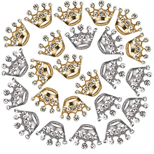 24Pcs Crown Brooch Pin, Wedding Crystal Rhinestone Bridal Corsage Brooch Pins for Women Girls Clothes Dress, Hat, Robe, Dress, Bouquet, Collar, Scarf Decoration from Shallylu