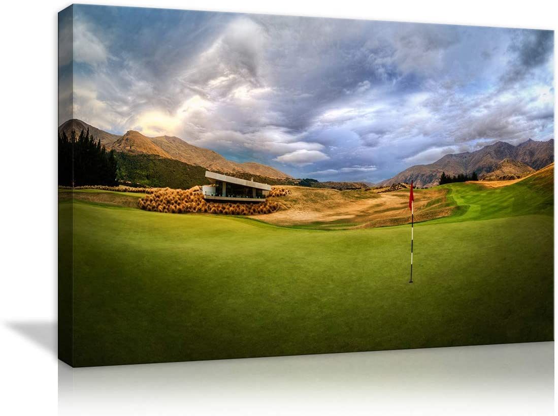 Amazon Com Amemny Modern Beautiful Golf Course On Canvas Landscape Painting Wall Art Artwork Sun Photo Hd Prints To Home Office Photo Decor 24 Wx16 H Posters Prints