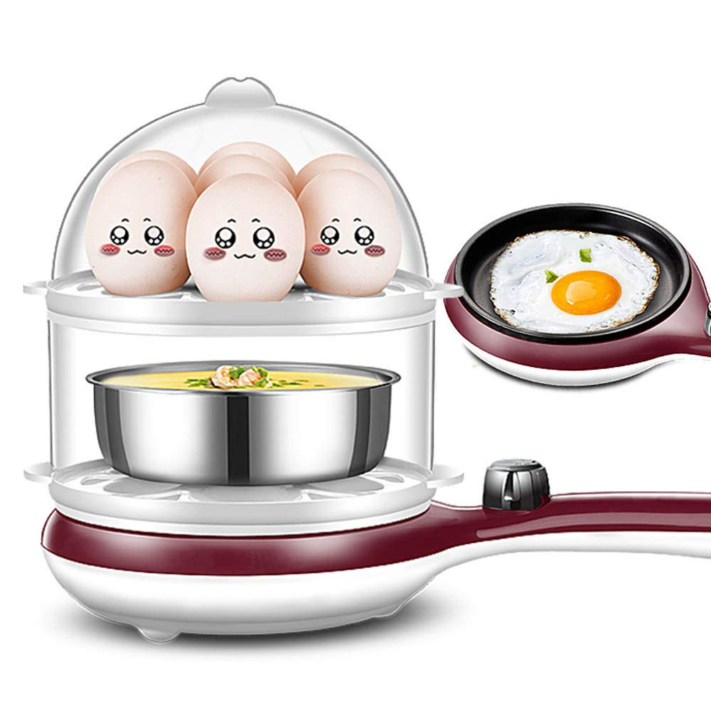 JSX 3 in 1 Durable Stainless Steel Electric Egg Cooker Easy Electric Egg Poacher with Auto Shut Off Feature and 2 Tiered/14 Eggs Capacity,Coffee