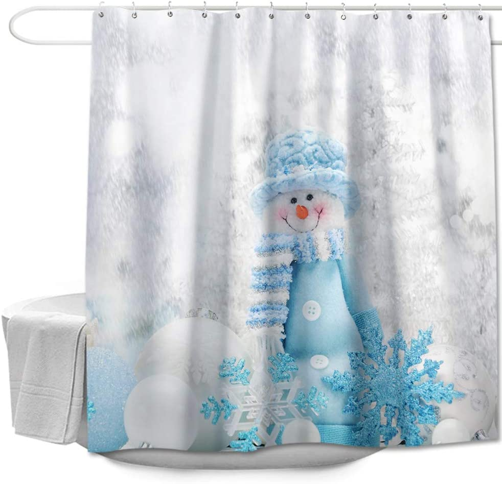 "Colorful Star Blue Hat Snowman Shower Curtain with Hooks for Bathroom Polyester Fabric Waterproof Decorative Curtain Sets for Kids Christmas Home Decor 72"" x 72"""