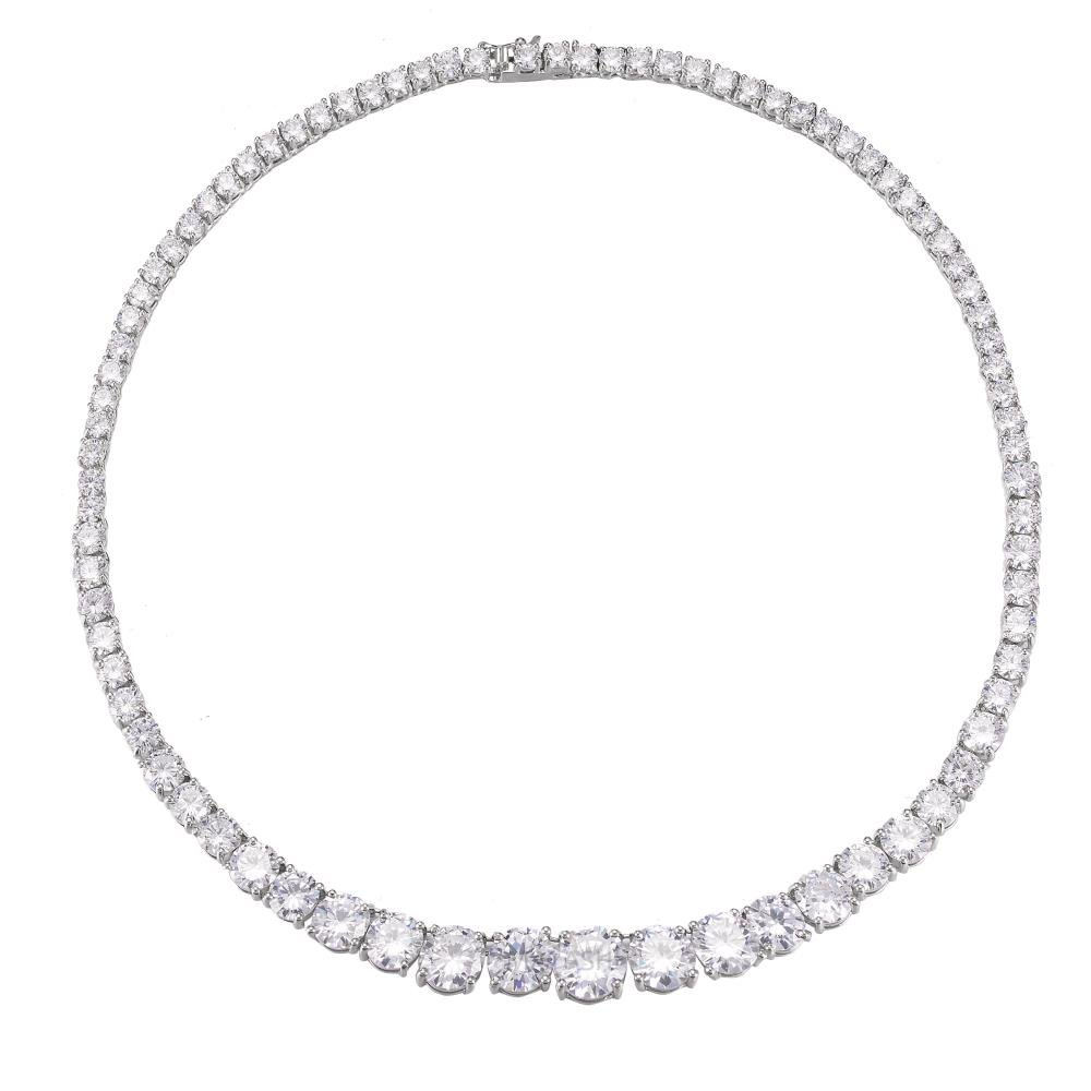 Rhodium Plated Earrings & Necklace Set-Zircon Bridal Wedding Necklace Earring Jewelry Set Round Cut withWomen Fashion Jewelry Set–Bridesmaids,Birthday,Anniversary Gifts For Women by Matashi (Image #8)