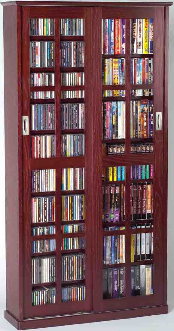 amazoncom leslie dame ms700dc mission multimedia dvdcd storage cabinet with sliding glass doors cherry kitchen u0026 dining - Dvd Storage Cabinet