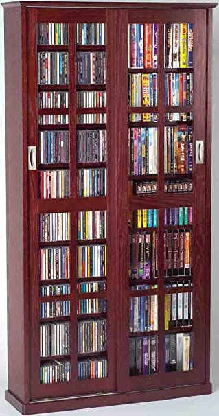 Elegant Leslie Dame MS 700DC Mission Multimedia DVD/CD Storage Cabinet With Sliding  Glass Doors