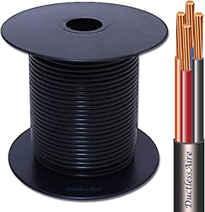 50 Ft 14-4 Awg Control Cable for Ductless Mini Split Air Conditioner Heat Pump Systems; 14 Awg 4 Conductor Color Coded Stranded