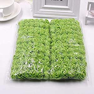 FLOWER 144pcs/pack 2cm Mini Foam Rose Artificial Bouquet Multicolor Rose Wedding Decoration Scrapbooking Fake Easter Gift (Green) 2