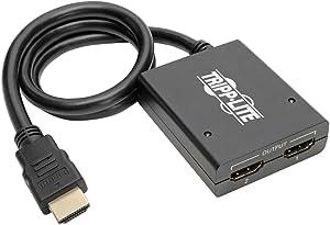 Tripp Lite 2-Port 4K HDMI Splitter, 1 In 2 Out, Ultra HD (UHD) Video & Audio (B118-002-UHD),Multicolor