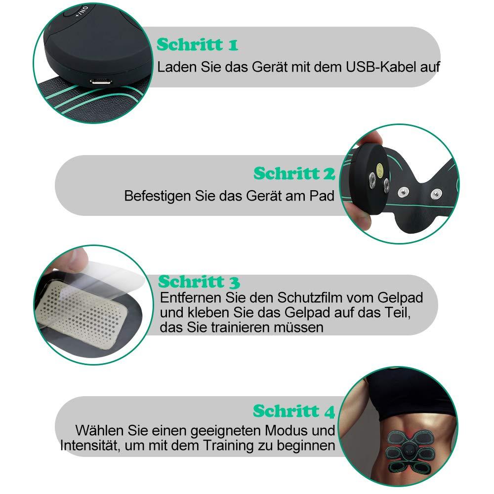 Maison-Market EMS - Tóner para entrenamiento muscular abdominal, recargable por USB, para adelgazamiento, cuerpo, escultor muscular, mariposa, abdominal, ...
