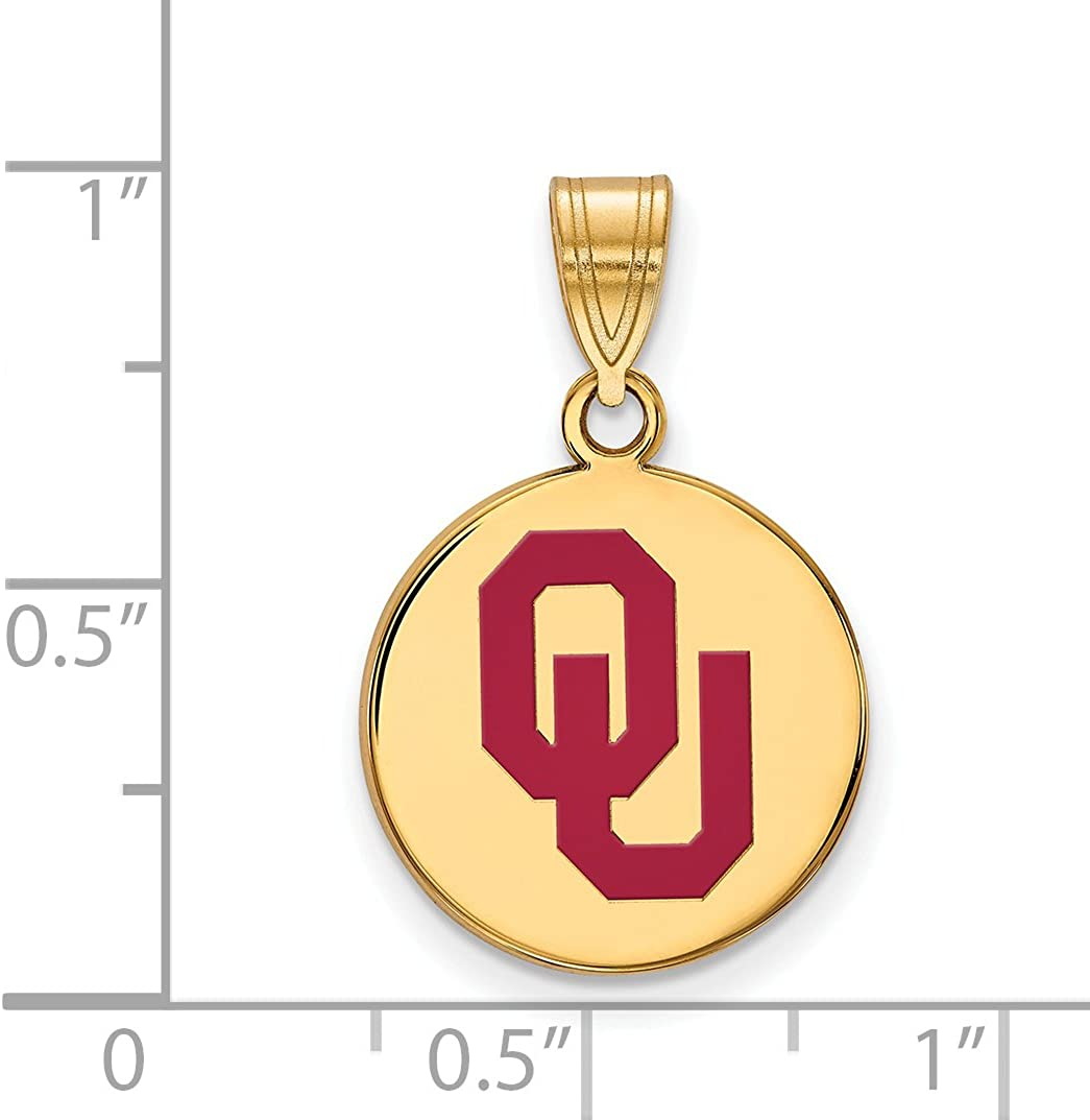 Oklahoma Sooners OU Red School Letters Logo Disc Pendant Gold Plated Silver 16x15mm