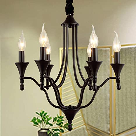 Ganeed French Country Chandeliers 8 Lights Kitchen Island Candle Iron Chandelier Industrial Vintage Pendant Light Fixture For Farmhouse Dining Room Bedroom Foyer