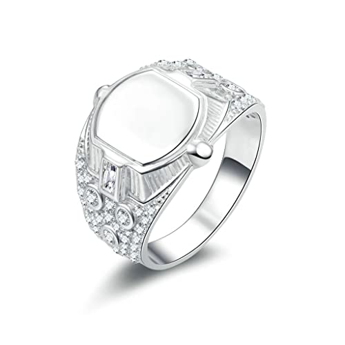 Daesar Joyería Anillo Compromiso de Plata Hombre, Pulido Alianzas de Boda Sello de Diamantes Pavé