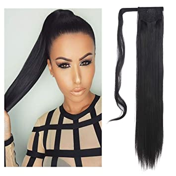 Sarla Straight Long Ponytail Hair Extension Clip In Wrap Around Synthetic Black Fake Pony Tail Hairpiecs Hair Piece For Women Heat Resisting Fiber 24