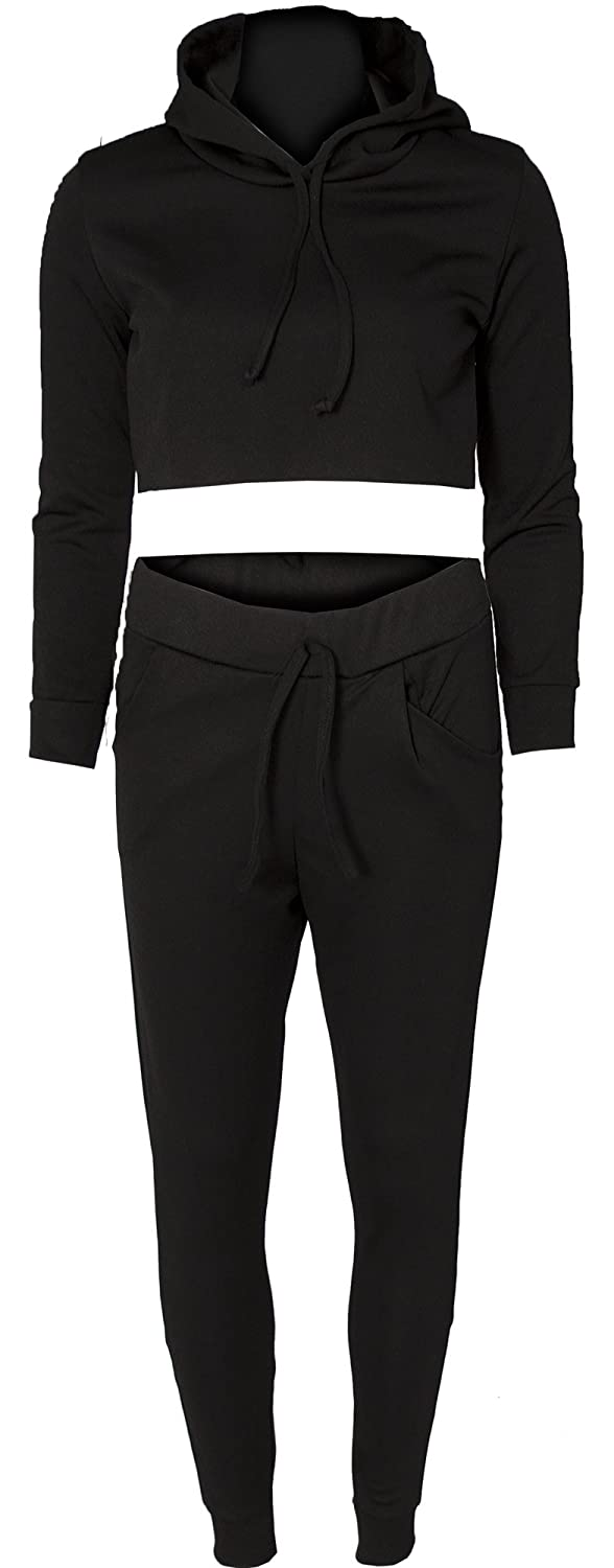 Womens Ladies 2 Piece Cropped Hooded Loungewear Set Tracksuit Joggers Jogging Bottoms & Crop Raw Edge Hoodie Top