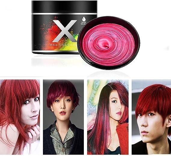Cera rojo del color del pelo, modelado temporal de una sola vez Cera natural del teñido de pelo del color, crema temporal del peinado, cera que modela ...