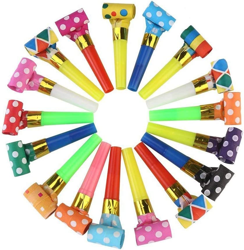 Koogel 100 Pcs Party Blower, Colorful Birthday Noisemakers Birthday Blow Horns Party Horns Party Whistles New Years Party Noisemakers Party Blowouts Whistles Party Blowouts Party Favors Noise Makers: Toys & Games