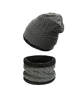 Ndier Cappello Berretto Invernale, Cappelli e Sciarpa in Maglia Unisex Beanie Cappello Sciarpa Mantieni Caldo in Inverno (Grigio)