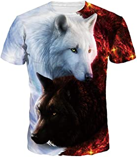 5d37819648009 FLYCHEN Men s Colorful 3D Animal Galaxy Print T-Shirt Short Sleeve Fashion  Casual Tees