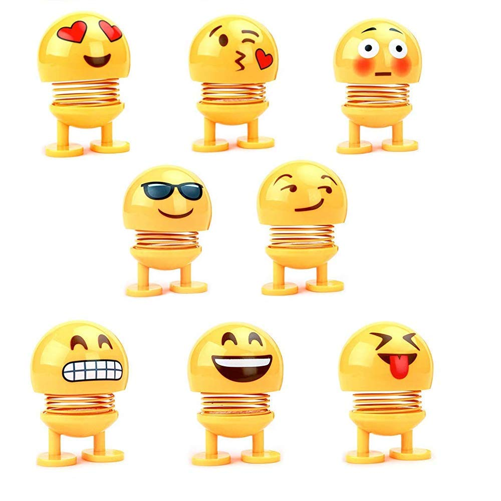 Kaptin 8 PCS Emoticon Spring Doll Smiling Face Spring Doll Shaking Head Dancing Doll Toy Bouncing Doll Desktop Doll Kids Party Favors Bounce Figure Dashboard Spring Figure Car Spring Doll