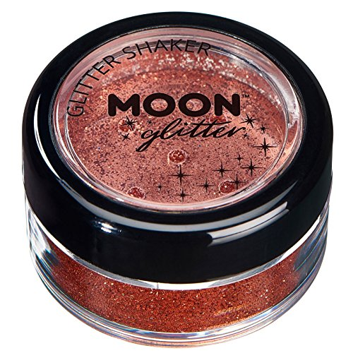 Fine Glitter Shakers by Moon Glitter - 100% Cosmetic Glitter for Face, Body, Nails, Hair and Lips - 0.17oz - Copper Bronze -