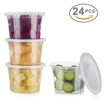 Glotoch 24 Pack Durable Plastic Microwaveable Reusable Clear Takeout Travel  Deli Food Storage Containers With Lids
