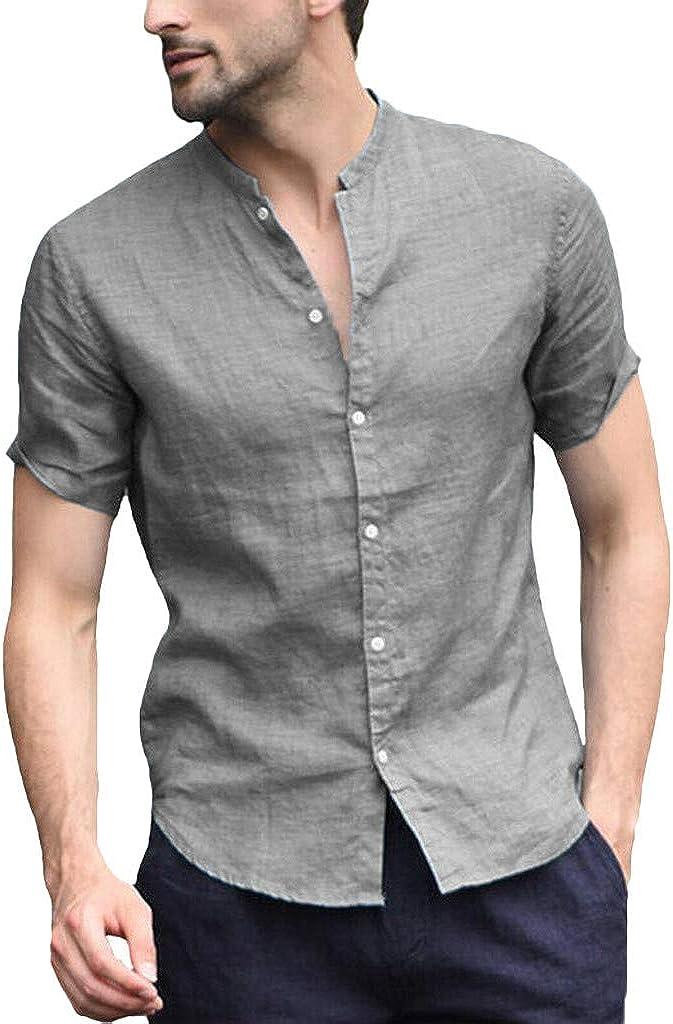 Men Baggy Fashion Tops Male Short Sleeve Cotton Linen Blouse Summer Simple Solid Color Retro T Shirts
