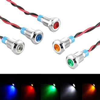 Bkinsety 5Pcs Luci di Segnalazione 12V 8MM LED Spia Sul Cruscotto per Auto Barca Camion Furgone