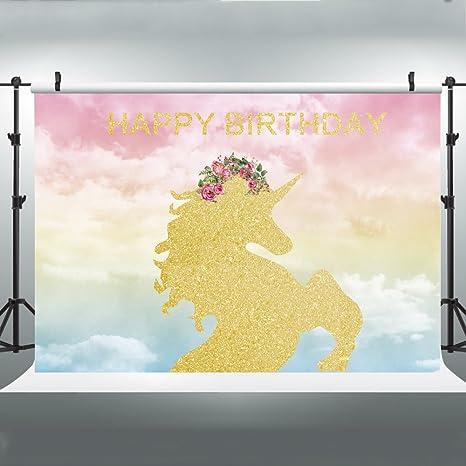 27 X 18 M Oro Unicorno Compleanno Sfondo Per Fotografia Cromatico