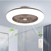 Ventilador de techo con iluminación, luz LED, velocidad del viento regulable, con mando a distancia, moderna lámpara LED de techo para dormitorio, salón, comedor, color marrón
