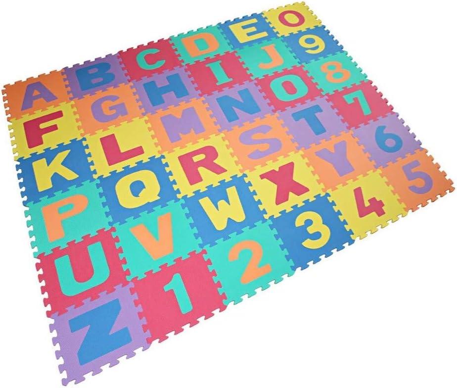 VLFit Alfombra Puzzle Niños de Letras para Niños Bebe Infantil 30cm x 30cm x 1cm + Bordes, 36 Piezas de Goma Espuma Suave Eva alfombras de Numeros 0 al 9 y 26 Letras (A-Z)
