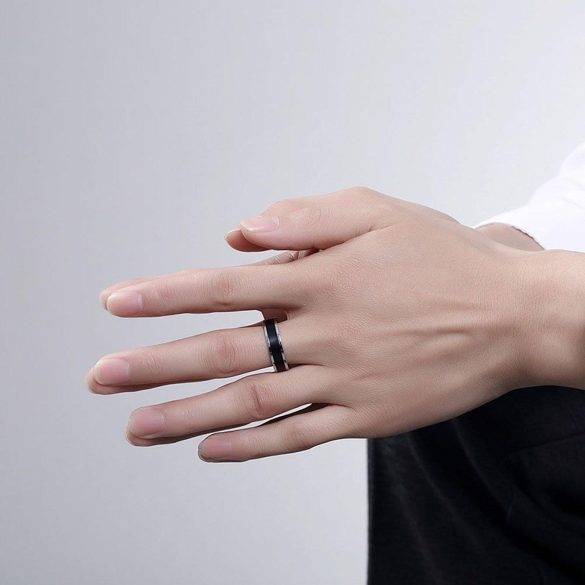Godyce Stainless Steel Rings for Men 6mm - Black Silver Size 7-10 ...