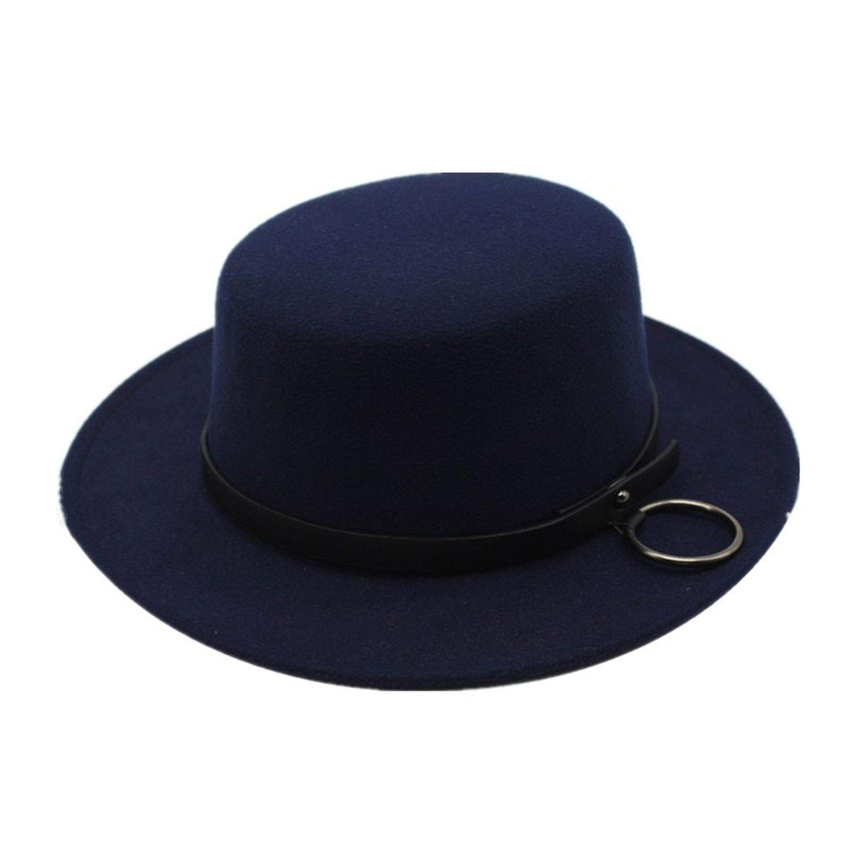 Women Wool Boater Flat Top Hat Wide Brim Felt Fedora Hat with Chain Ladies Feltro Bowler Gambler Top Hat