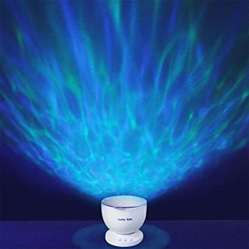 Ocean Wave Night Light Projector With Music Player Romantic Color Changing LED Party Decorations Projection Lamps