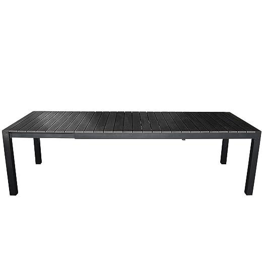 XL – Mesa de jardín aluminio extensible 204/274 x 100 cm 10 ...