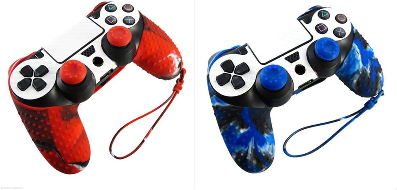 Hipipooo 2 Pack Silicone Camouflage Protection Case Skin For Sony PS4 Dualshock Controller With Thumb Grips