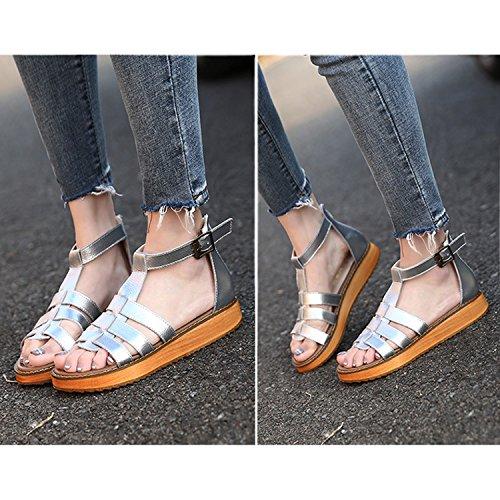 Vacances Sliver Femme Plage de Été Ville Tong Vintage Frestepvie Compensés Confortable Plates Chaussures Talons Sandales à Plats w6aCnUqTF