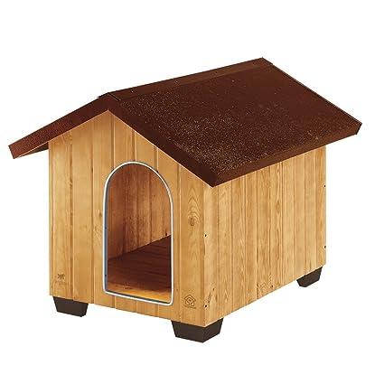 Feplast 87003000 Caseta de Exterior para Perros Domus Large, Robusta Madera Ecosostenible, Pies de